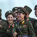 North Korean soldiers women smiling, Pyongan Province, Pyongyang, North Korea