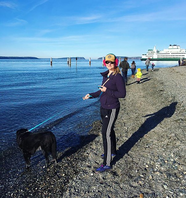 Maggie and me in Mukilteo. I'm wearing Josh's Adidas track pants...it's fun to be able to wear your spouse's clothes and shoes.