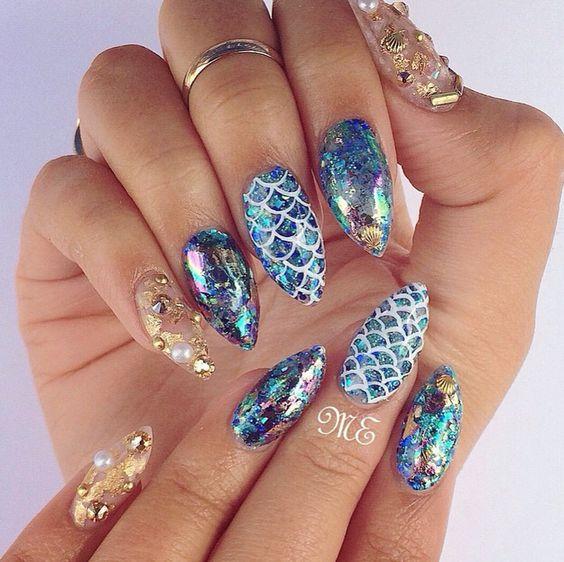 Best 50+ Mermaid Acrylic Nails On Trend This Year - Fashionre