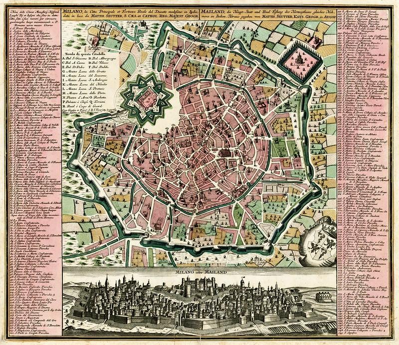 Matthaus Seutter - Milano, la Citta Principale et Fortezza Reale del Ducato medsino in Italia (c.1730)