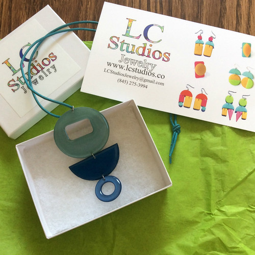 LC Studios Paper Pendant Necklace and Packaging