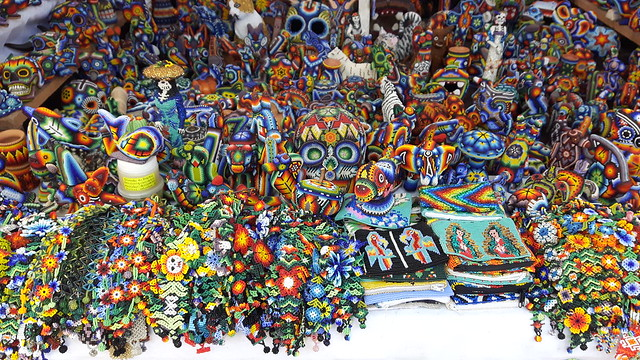Colourful beaded Mexican crafts in a market