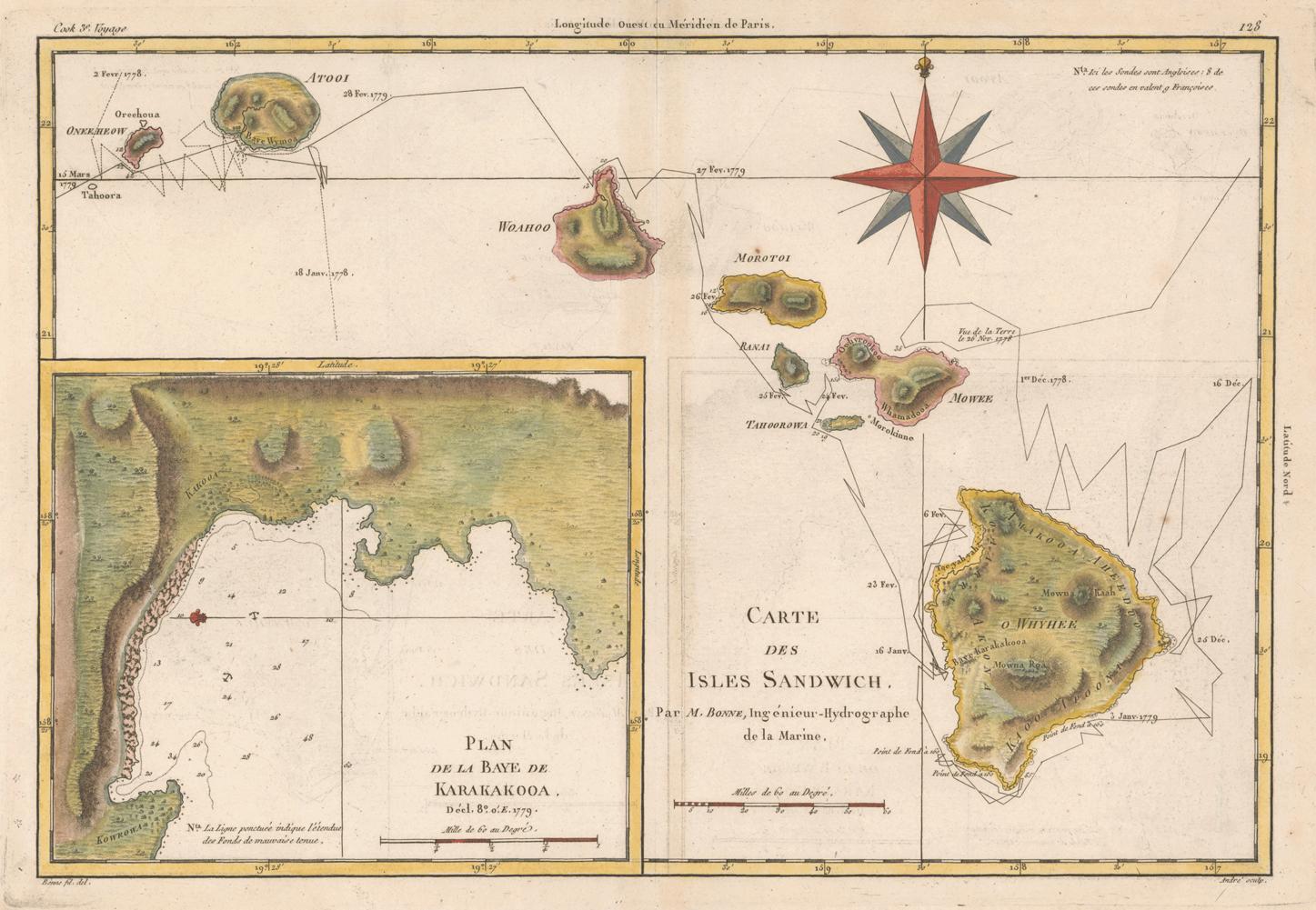 """Bonne, Rigobert, 1727–1794. """"Carte des Isles Sandwich."""" Copperplate map, with added color, 23 × 34 cm. Probably from R. Bonne and N. Desmarest's Atlas encyclopédique . . . (Paris, 1787–1788)."""