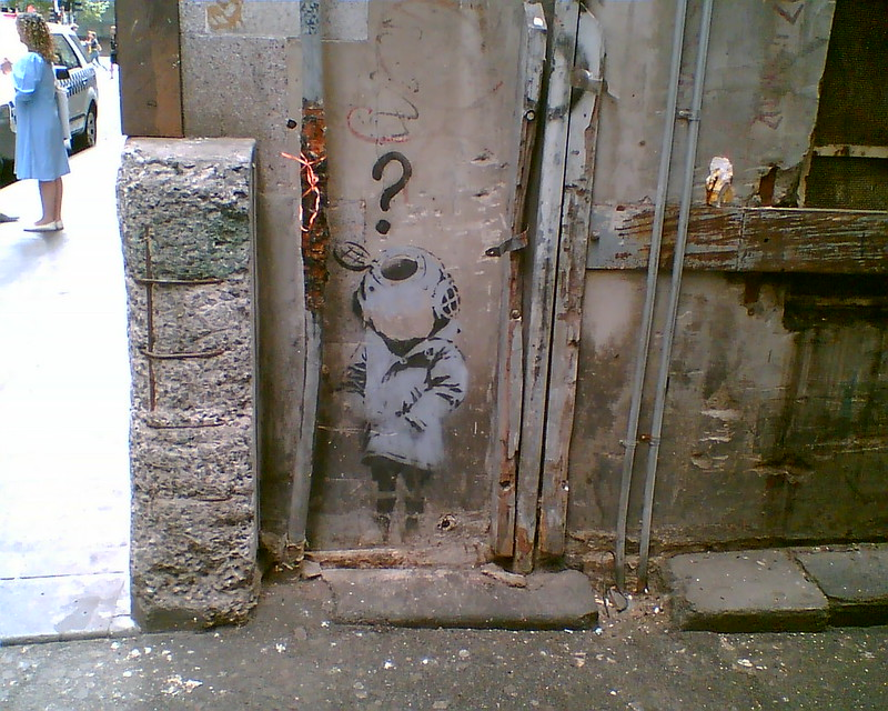 """Little Diver"" by Banksy, off Flinders Lane, Melbourne, January 2008"