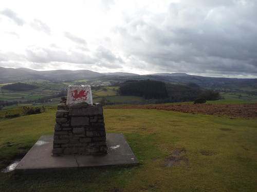 Trig Point, Pen-y-crug, with Black Mountain behind
