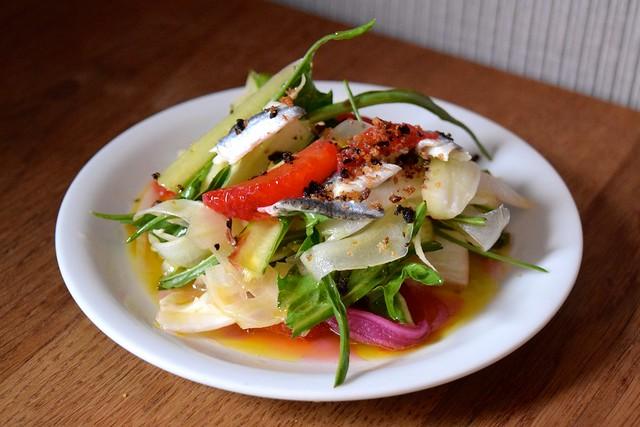 Blood orange, Puntarenella & Borquerone Salad at Oldroyd, Islington