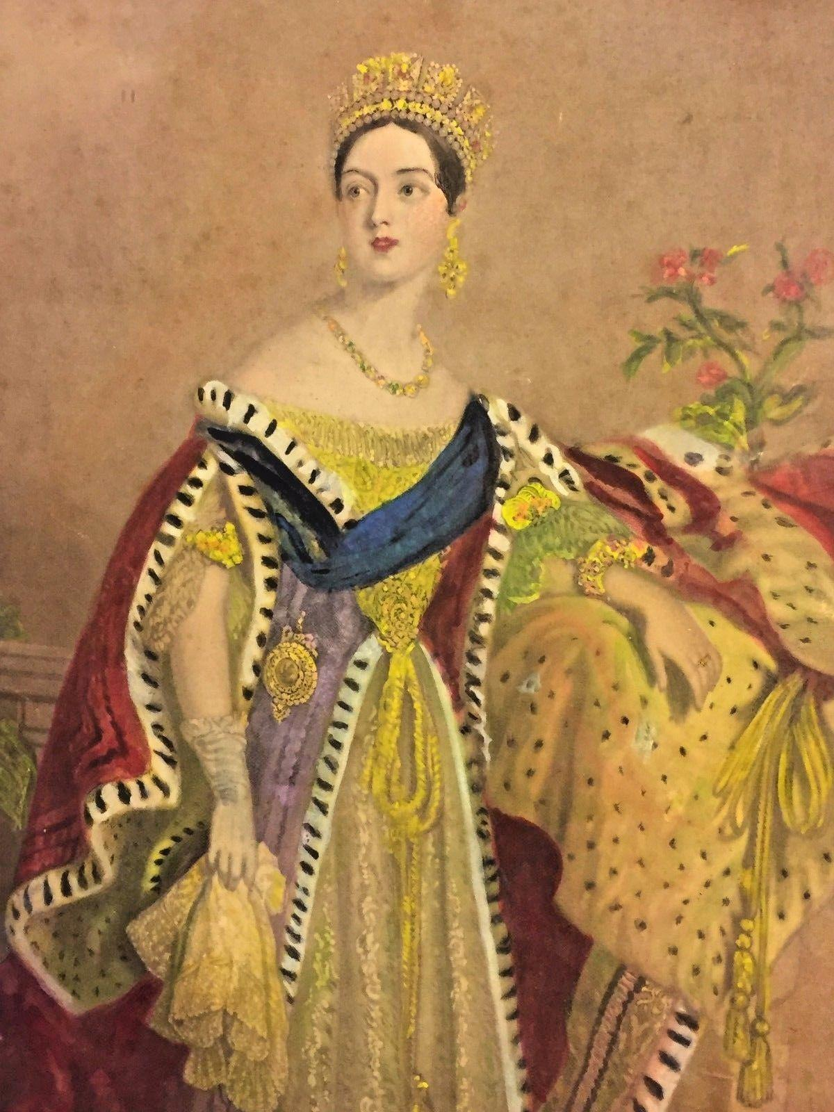 Engraving of Queen Victoria by Henry Sadd of New York in 1847, based upon a painting done by Alfred Edward Chalon in 1837. Chalon's painting of Victoria in her State robes going to the House of Lords for her first official act, the prorogation of the Parliament, on July 17, 1837. was engraved by Samuel Cousins and distributed to the public the day of Victoria's coronation, June 28, 1838.