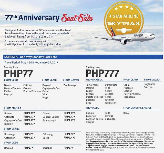 77th Anniversary Philippine Airlines Seat Sale - Domestic Flights
