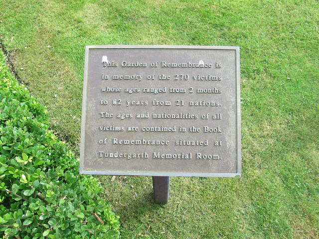 Lockerbie, Garden of Remembrance Plaque