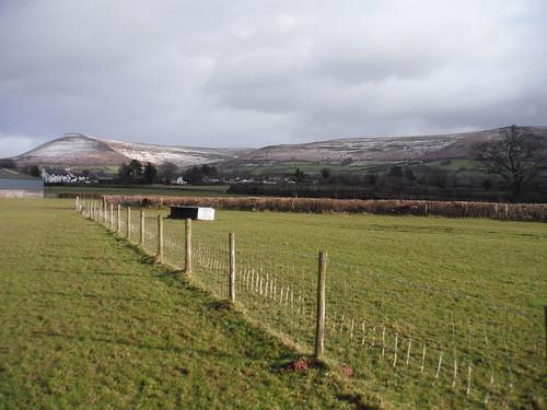 Mynydd Troed and Mynydd Llangorse from field near Llangors
