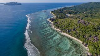 Anse Source d'Argent beach aerial, La Digue Seychelles