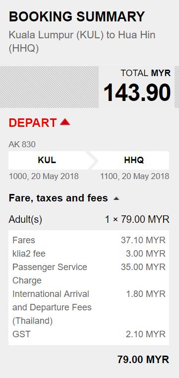 KL to Hua Hin AirAsia