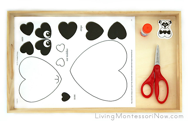 Tray with Heart Panda Paper Craft