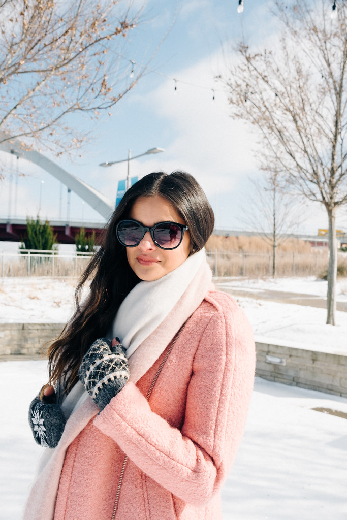 PriyaPappu_2Priya the Blog, Nashville fashion blog, Winter outfit pink coat, LOFT textured moto coat, pink Dr. Martens, snow day outfit, Nashville snow day, snow outfit with pink coat