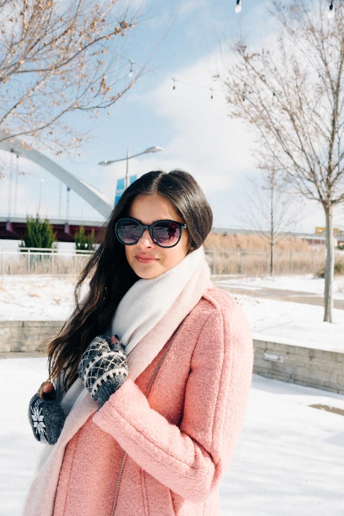 PriyaPappu_2Priya the Blog, Nashville fashion blog, Winter outfit pink coat, LOFT textured moto coat, pink Dr. Martens, snow day outfit, Nashville snow day, snow outfit with pink coat