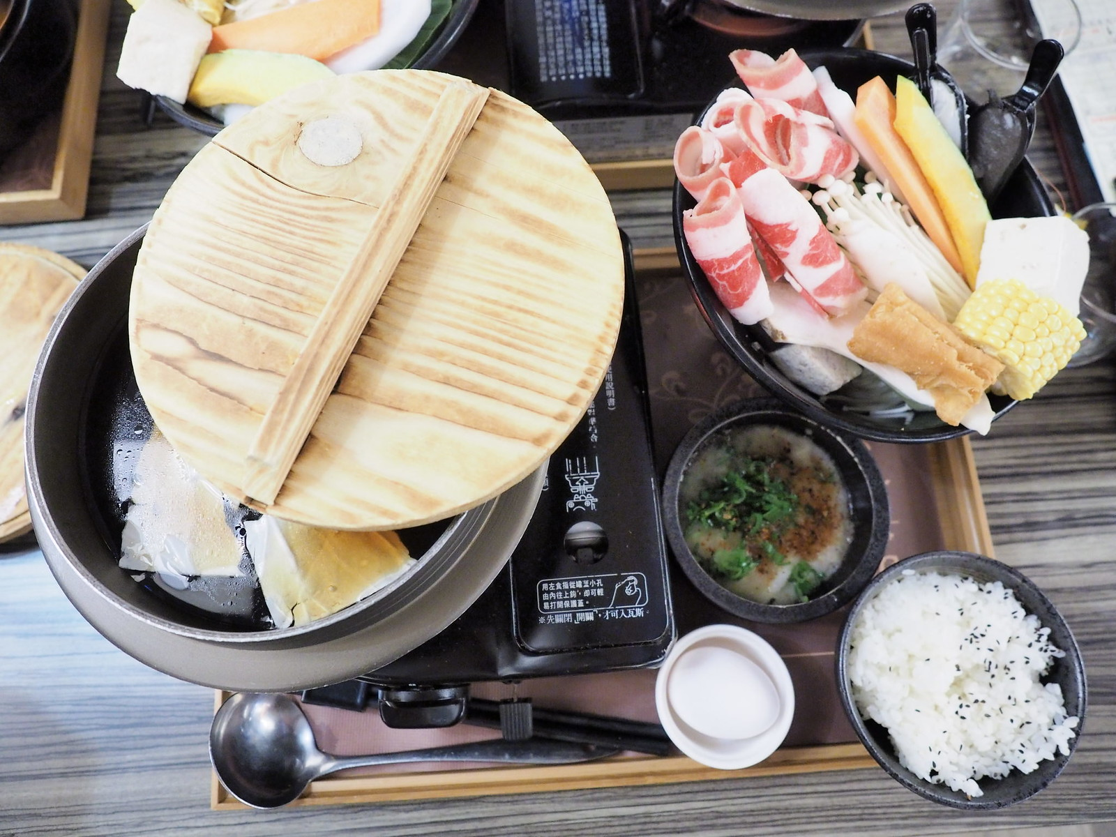 My pot of steamboat set at EZ.KON Restaurant at Taichung, Taiwan