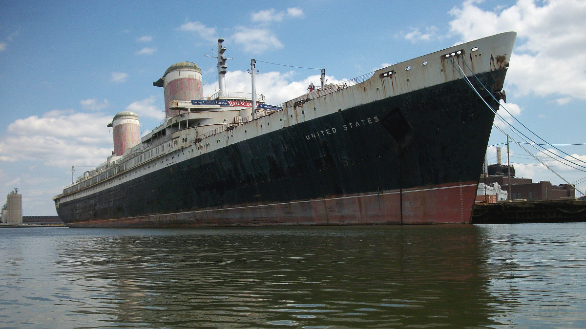 SS United States moored at Pier 82, Columbus Boulevard in Philadelphia, Pennsylvania. Photo taken on July 16, 2017.