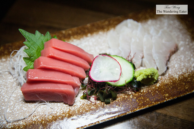 Sashimi of Bluefin tuna and Madai (red snapper)