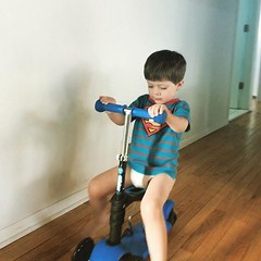Last week Fletcher was pretty sick, though he still had energy enough to ride his scooter!