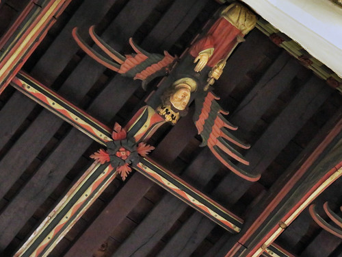 Wood ceiling featuring bat-like angels in the Stamford Church in England