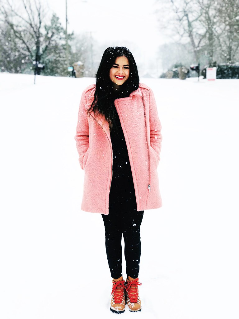 Priya the Blog, Nashville fashion blog, Nashville fashion blogger, Nashville style blog, Nashville snow, snow day outfit, Danner boots, girly outfit with Danner boots, fuzzy pink LOFT coat, Winter fashion, Winter outfit with pink coat, snow day chic