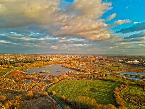 Aerial view of Doxey Marshes Nature Reserve in Stafford.