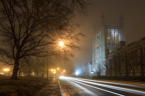 http://www.notleyhawkins.com/, Notley Hawkins Photography, road, fog, foggy, foggy night, architecture, building, sky, mist, night, tree, nocturne, evening, 2018, January, winter, Memorial Union, Columbia Missouri, Mizzou, campus, University of Missouri class=