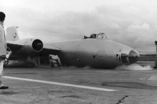 1961 RNZAF Canberra NZ6104 wheels up landing at Ohakea 13 Mar 1961 on Ohakea runway 27 immediately after arrival (Scroll down for details)