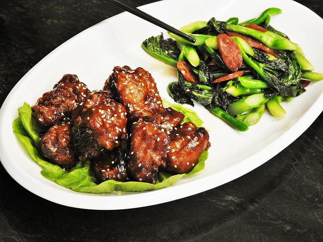 Duet Of Pork Ribs With Barbecued Sauce And Stir-Fried Kai Lan With Preserved Sausage