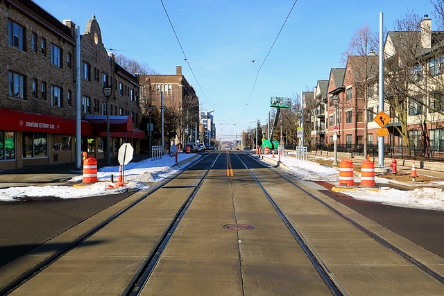 Milwaukee Streetcar platforms at East Ogden and North Astor (under construction, covered by recent snow)