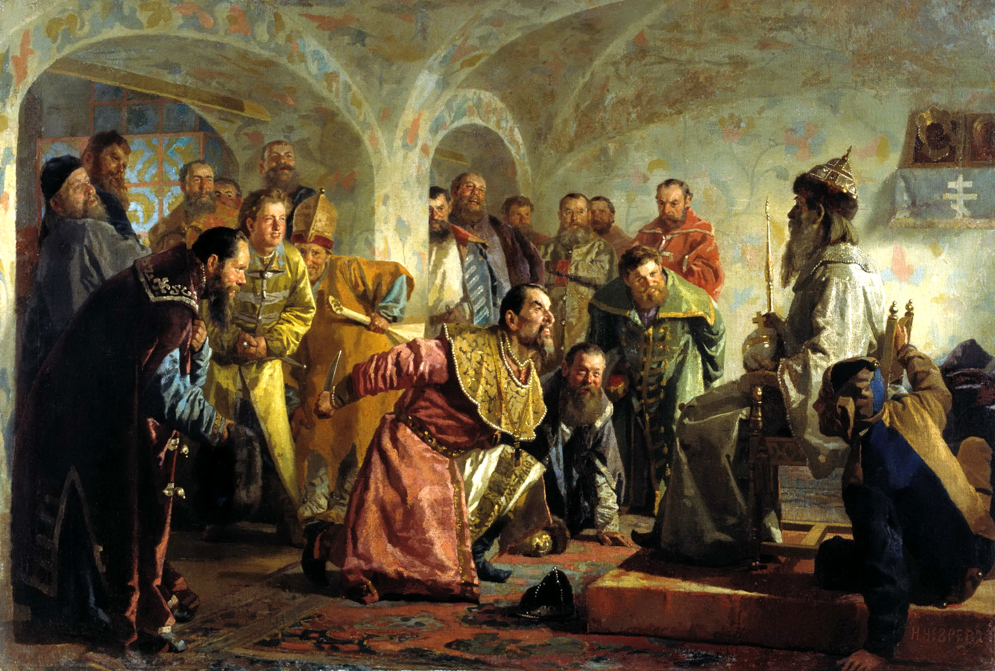 The Oprichniki by Nikolai Nevrev. The painting shows the last minutes of boyarin Feodorov, arrested for treason. To mock his alleged ambitions on the Tsar's title, the nobleman was given Tsar's regalia before execution.