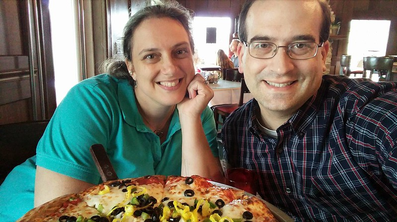 Katherine and Chris with the Vegetarian Dream pizza
