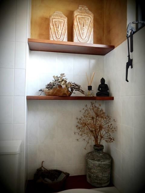 Houten planken badkamer