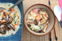 Congee With Mushroom, Carrot & Egg