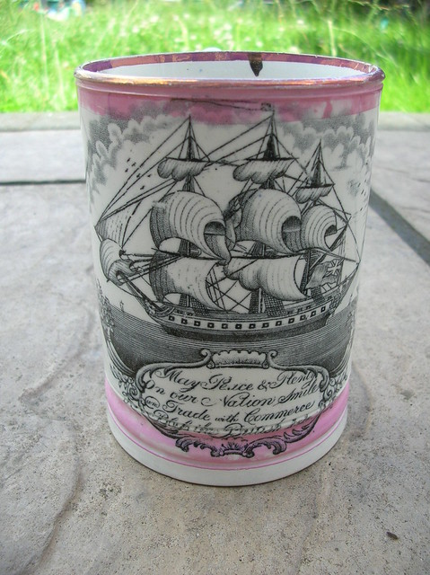 19th Century Pottery Sunderland Pink Lustre Frog Tankard Transfer Printed Galleon & The Motto May Peace and Plenty on our Nation Smile