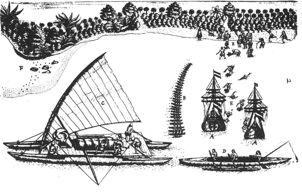 The arrival of Abel Tasman in Tongatapu, 1643; drawing by Isaack Gilsemans. Woodcut by Gilsemans from the ship diary by Abel Tasman, showing both ships in the bay, the inhabitants of Tongatapu with presents, showing their cano, how they fished, and where the king lived..