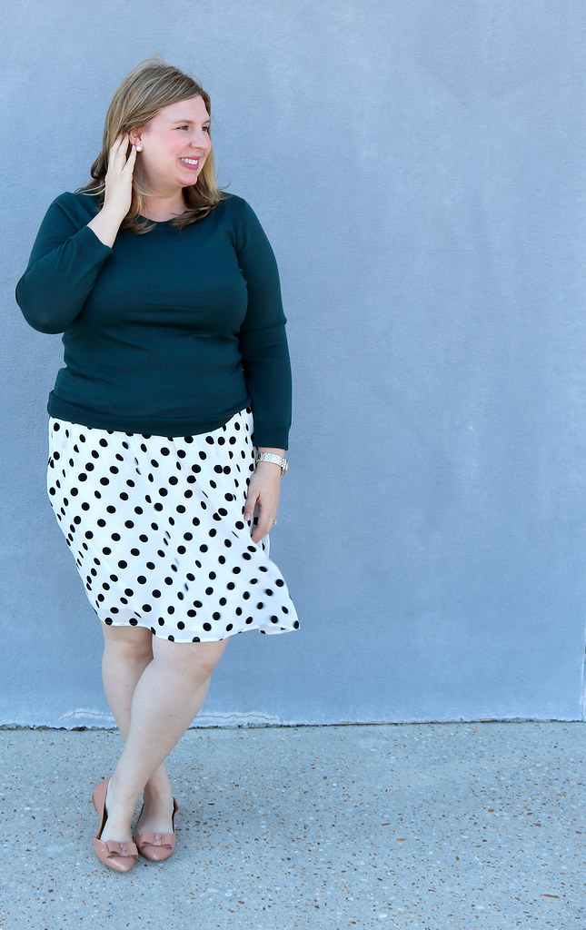 green tippi sweater, black and white polka dot, bow flats 5