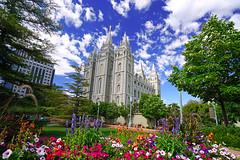 Flowerbeds in front of Salt Lake Temple, Salt Lake City, Utah