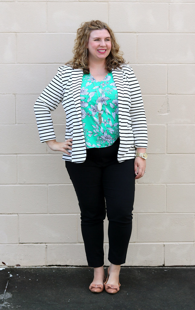black and white stripe blazer, green floral shell, black pencil pants, bow flats 2
