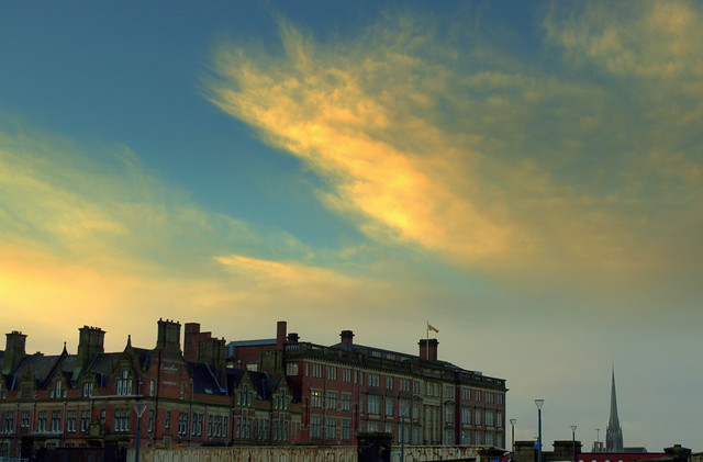 Sunset clouds over County Hall Preston