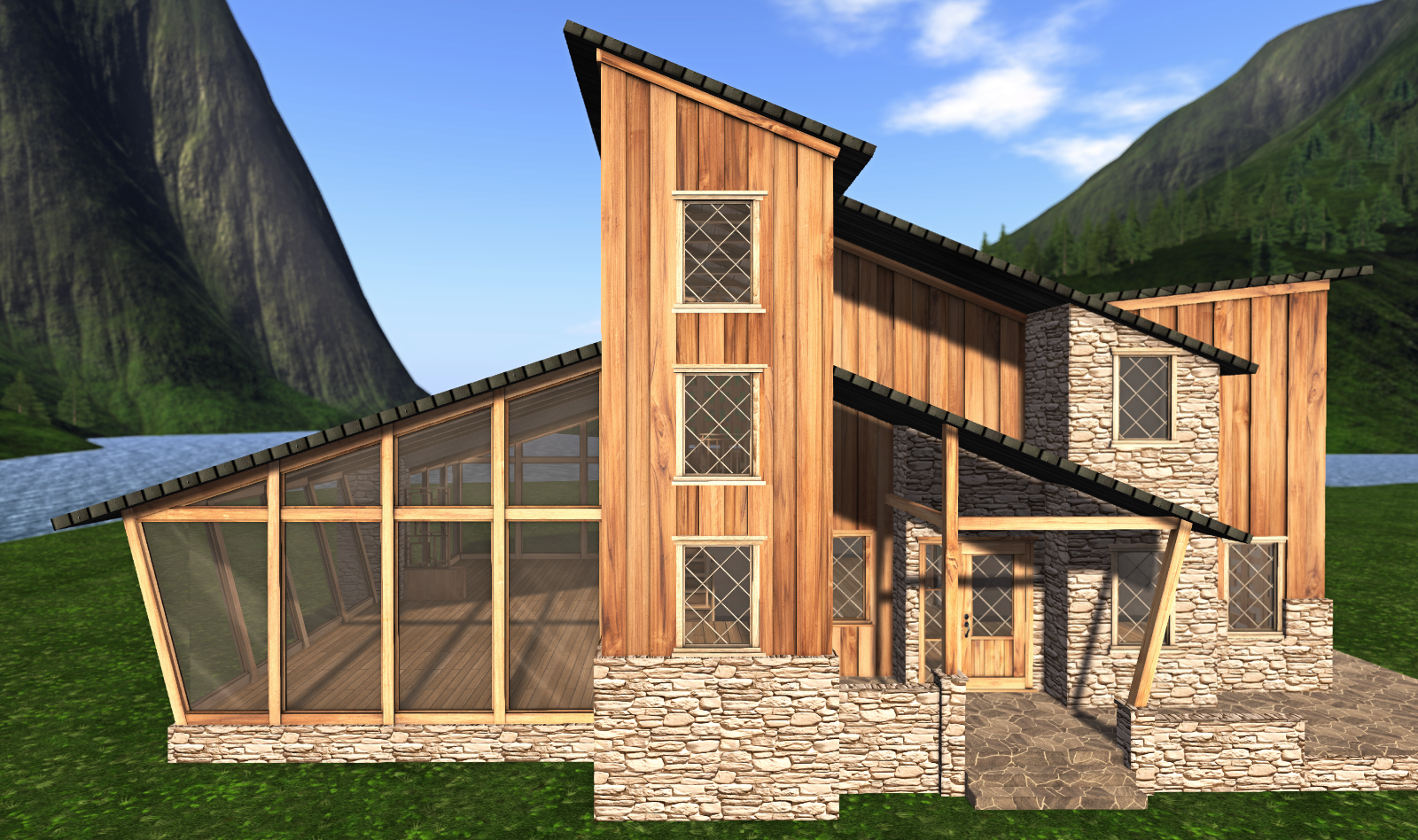 The Creekside house may be considered an example of the modern mountain architecture