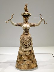 Minoan snake goddess. In the Archaeological Museum in Heraklion, Crete