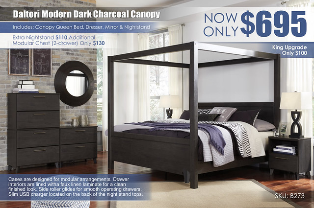 Daltori Dark Charcoal Canopy Bedroom_B273