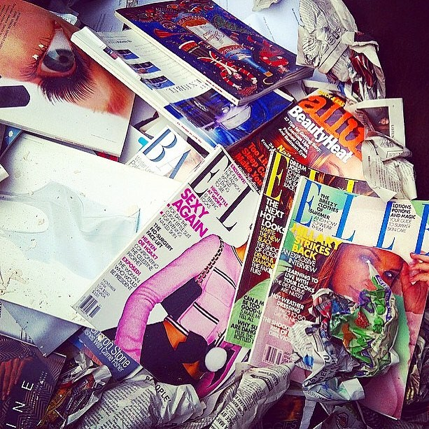 """Above: refuse from one of my magazine purges. Except my 90s Vogues! You can pry those out of my cold dead hands! My MIL has been supporting my """"Elle"""" subscription for years and she finally let it lapse. What US fashion magazine should I subscribe to next?"""