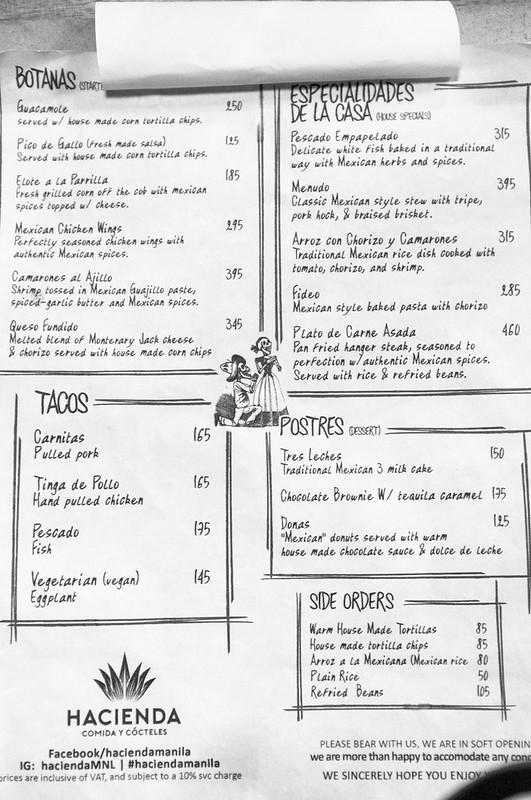 Hacienda Comida Y Cocteles - Soft Opening Menu Page 1