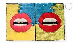Wende Pailletten Applikation, Pop Art MUND, Farbwechsel Patch ca.17x26cm