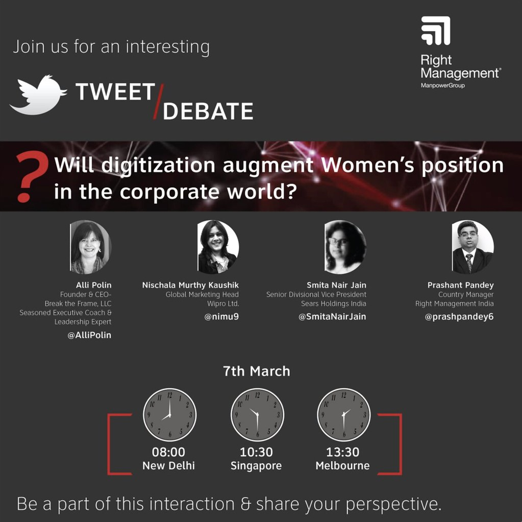 This International Women's Day , Join us for an Interesting & Insightful Tweet #Debate .. Will digitization augment Women's position in the Corporate World? 8 AM IST | 7th March @AlliPolin @nimu9 @SmitaNairJain @prashpandey6 #IWD #RightWomen #PressforProg