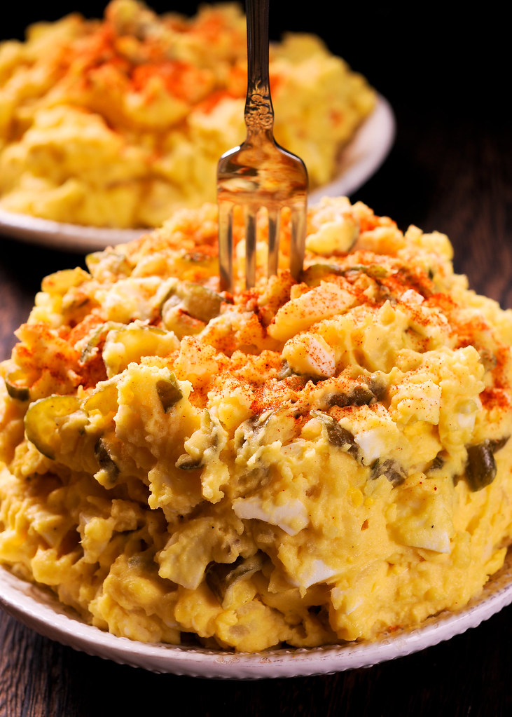 Traditional Southern Potato Salad with Mustard, Eggs and Pickles