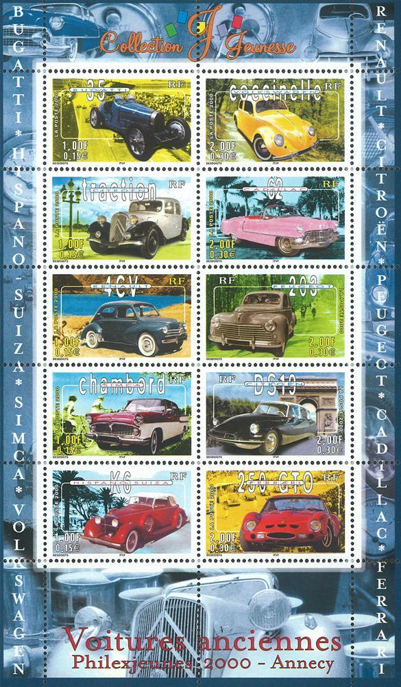 Známky Francúzsko 2000 Klasické autá, nerazítkovaný blok MNH