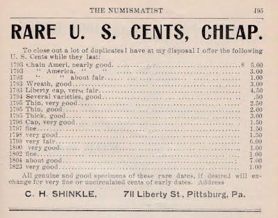 Shinkle 6_1904 p. 195 Rare US Cents Cheap